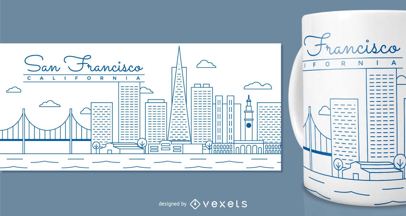 Design de caneca de São Francisco para mercadorias