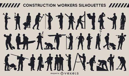 Colección de la silueta de trabajadores de la construcción