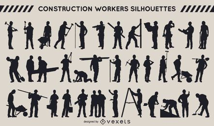 Construction workers silhouette collection