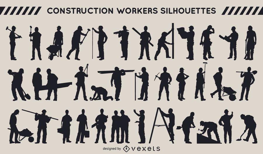 Coleção de silhueta dos trabalhadores da construção civil