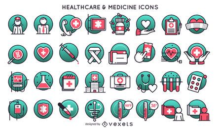 Conjunto de ícones de medicina e saúde
