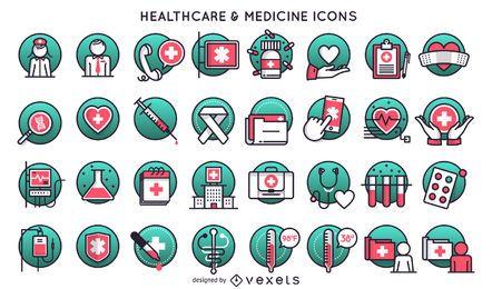 Conjunto de iconos de medicina y atención sanitaria