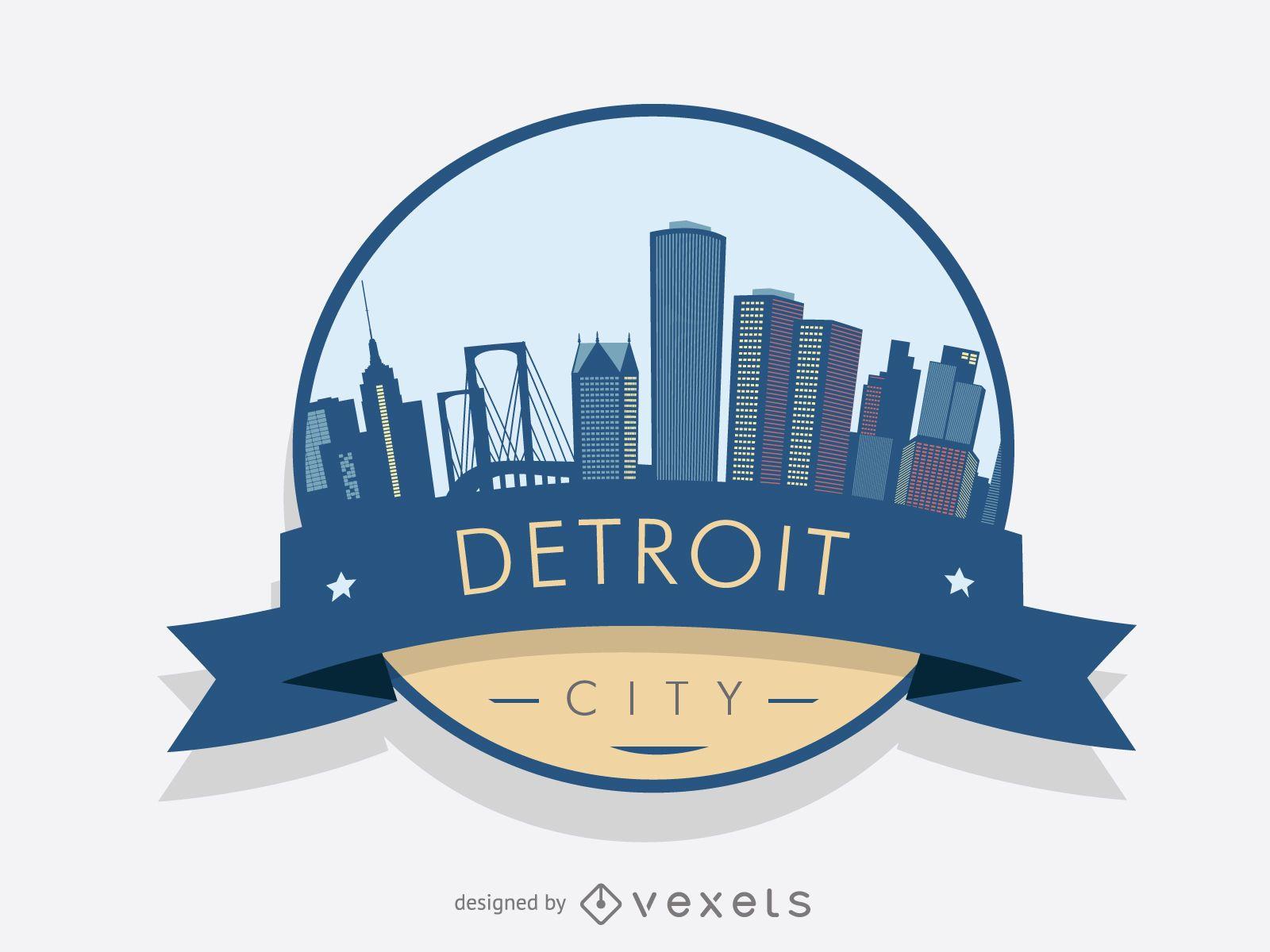 Detroit badge skyline