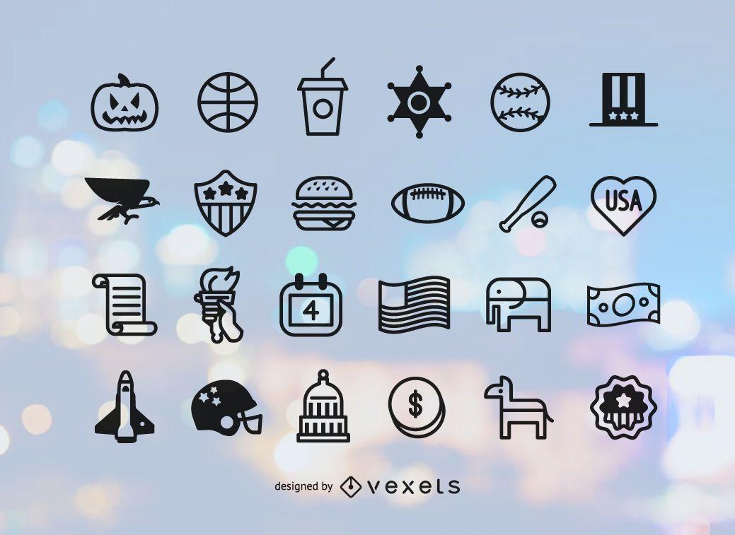 Conjunto de iconos de Estados Unidos de trazo plano