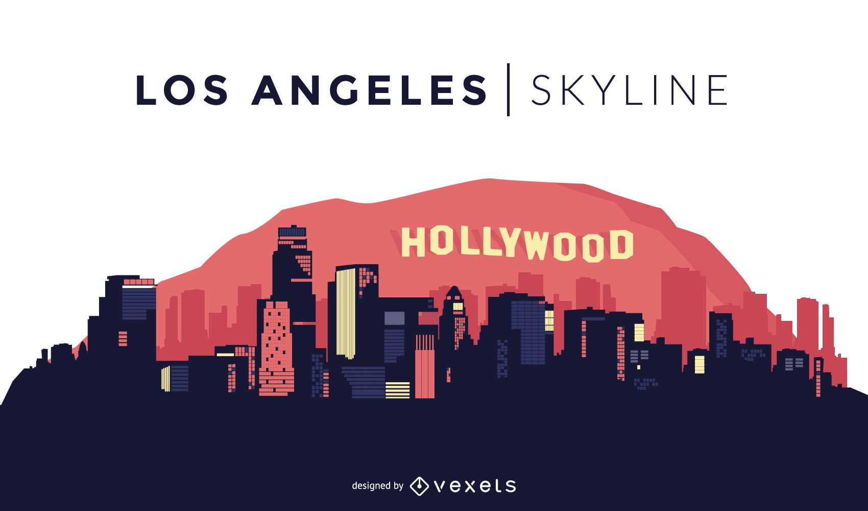 Los angeles skyline design vector download Logo designers los angeles