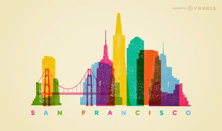 Colorful San Francisco skyline
