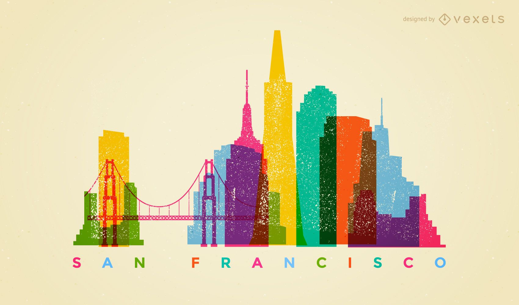 Colorful San Francisco Skyline Vector Download