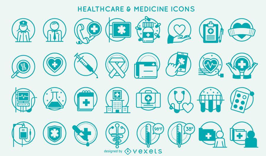Sammlung von Schlaganfall-Symbolen für Gesundheitswesen und Medizin