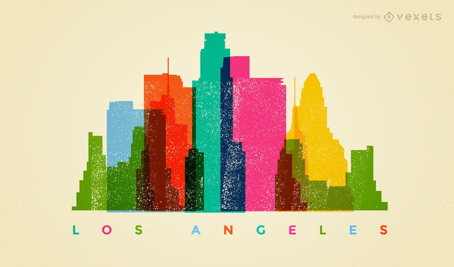 Los Angeles colorful skyline