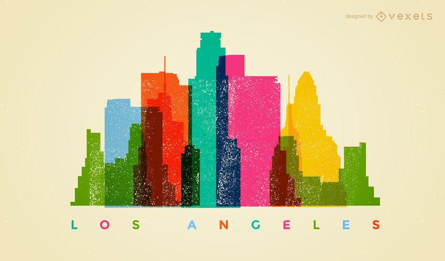 Los Angeles colorful skyline