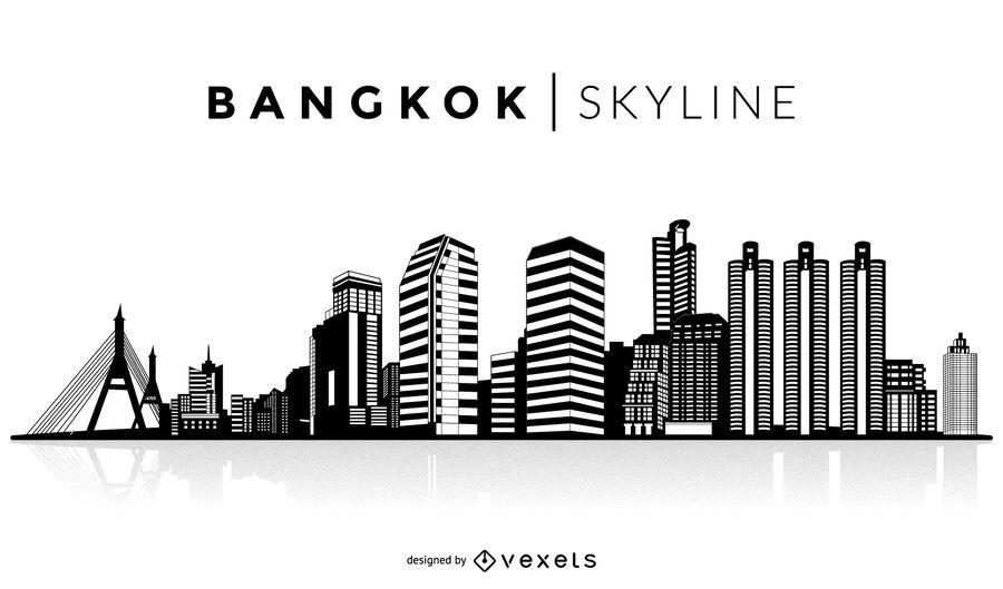 Horizonte de silueta de bangkok