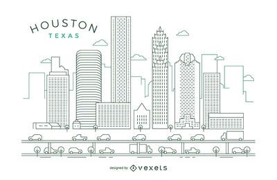 Skyline do curso de Houston