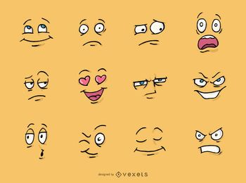 Conjunto de caras de dibujos animados