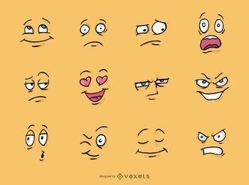 Conjunto de rostos de desenho animado
