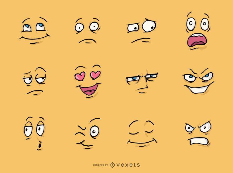 Conjunto de caras de desenho animado