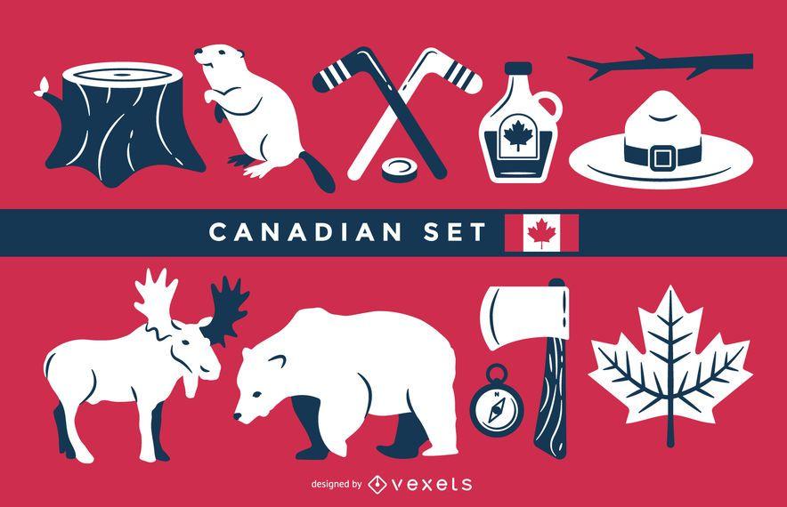 Conjunto de ilustración canadiense