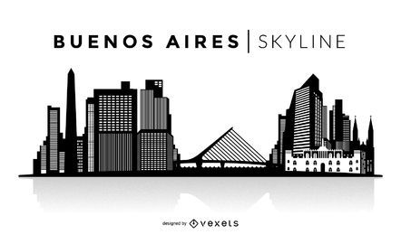 Skyline de silhueta de Buenos Aires