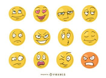 Funny cartoon faces emoji