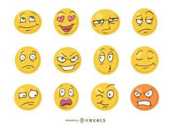 Lustige Karikatur stellt Emoji gegenüber