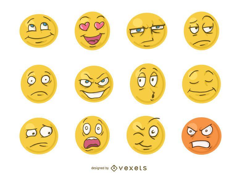 desenhos animados engraçados enfrentam emoji baixar vector