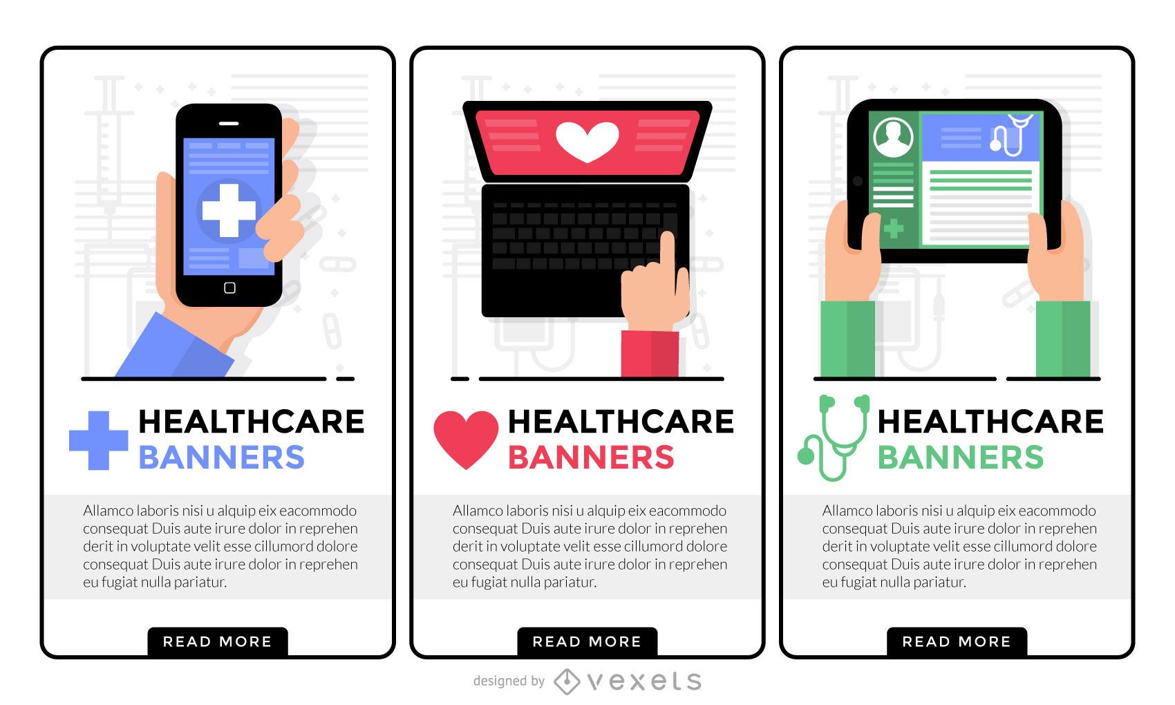 Conjunto de banners de salud