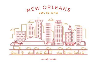 New Orleans stroke skyline