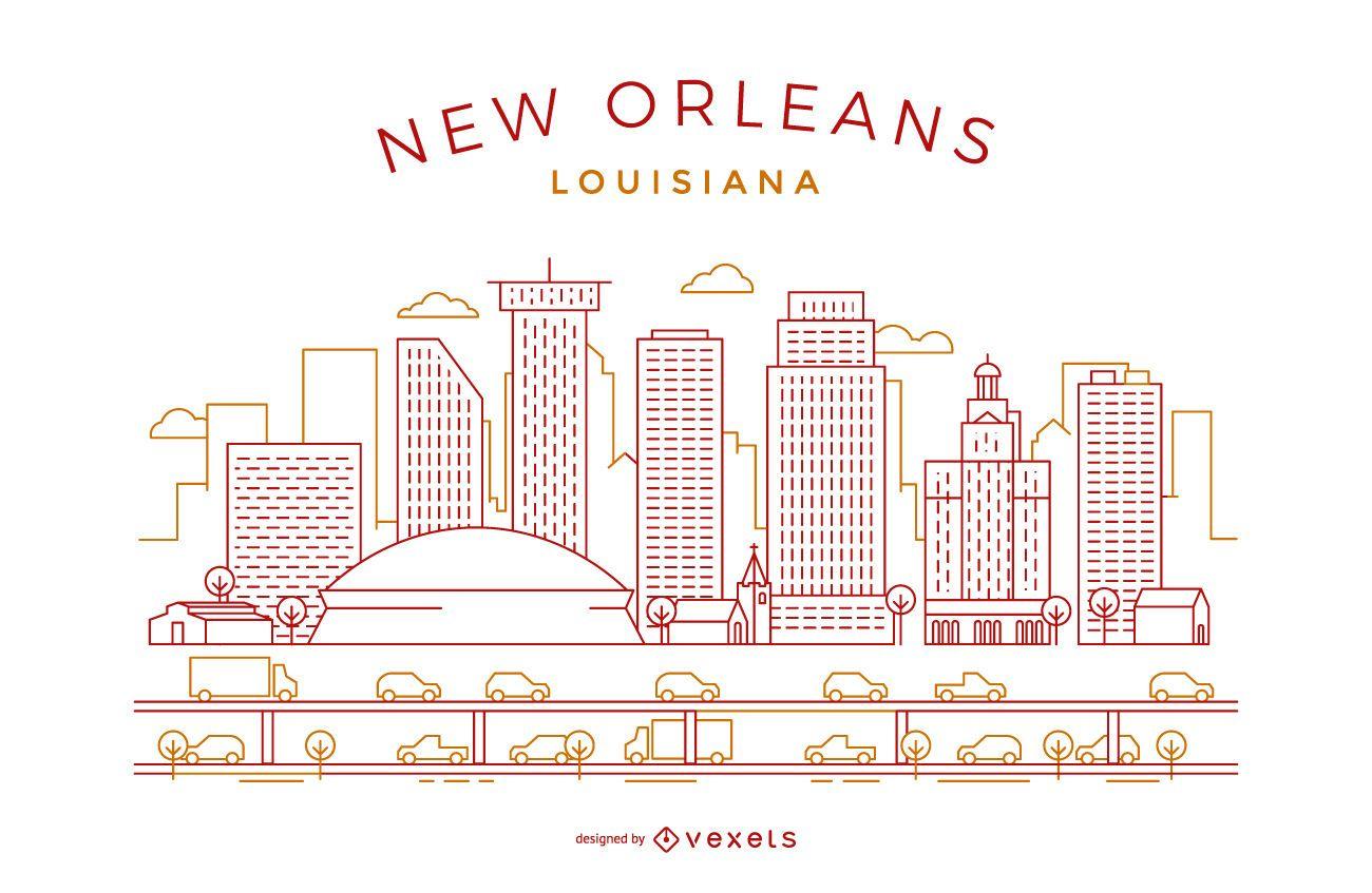 New Orleans stroke skyline