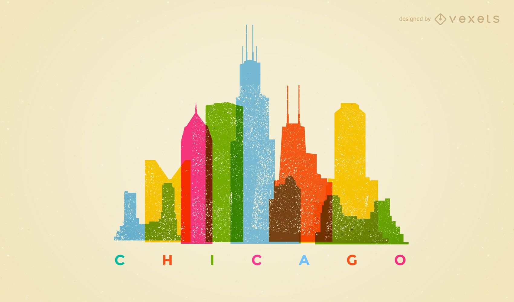 Colorful Chicago skyline