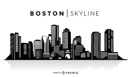 Boston silhouette skyline