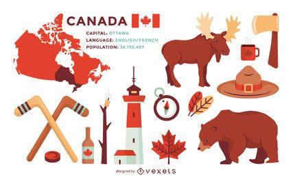 Conjunto de ilustrações dos elementos do Canadá