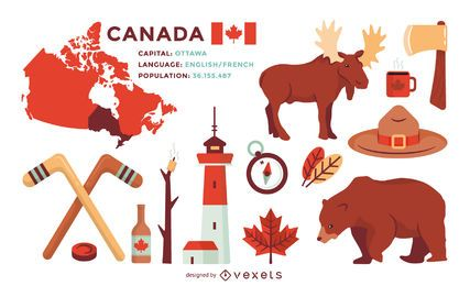 Conjunto de ilustraciones de elementos de Canadá.