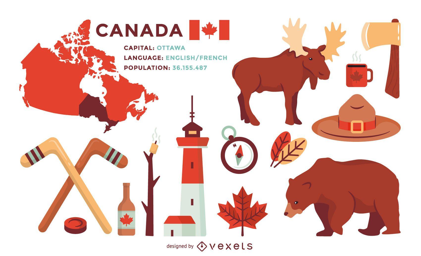 Conjunto de ilustrações de elementos do Canadá