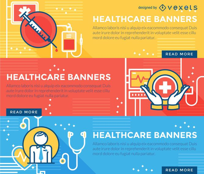 Flat stroke healthcare banner set