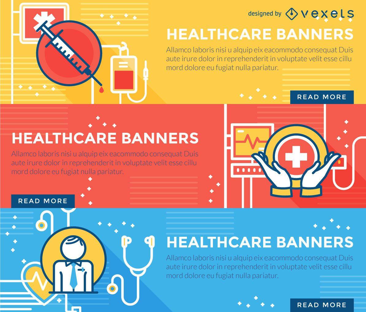 Conjunto de banners de salud de trazo plano