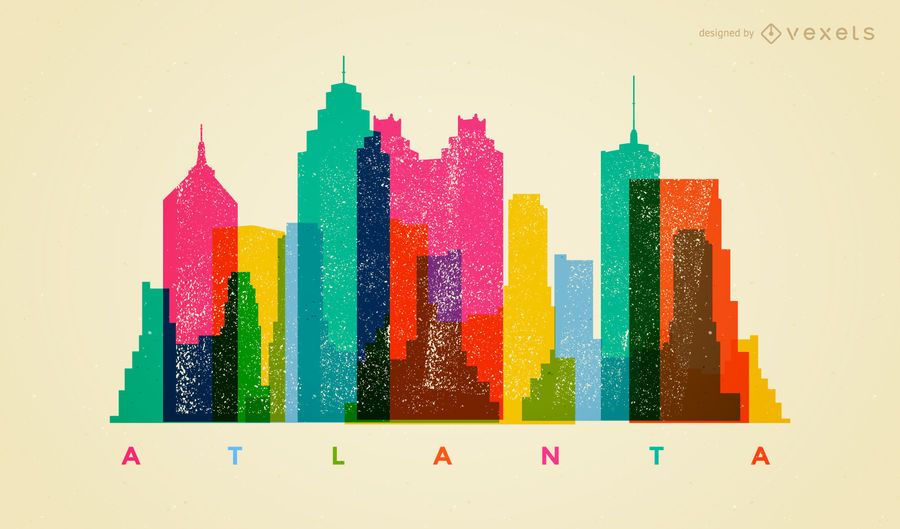 Colorful Atlanta skyline