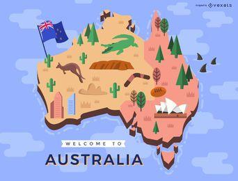 Mapa australiano com elementos tradicionais