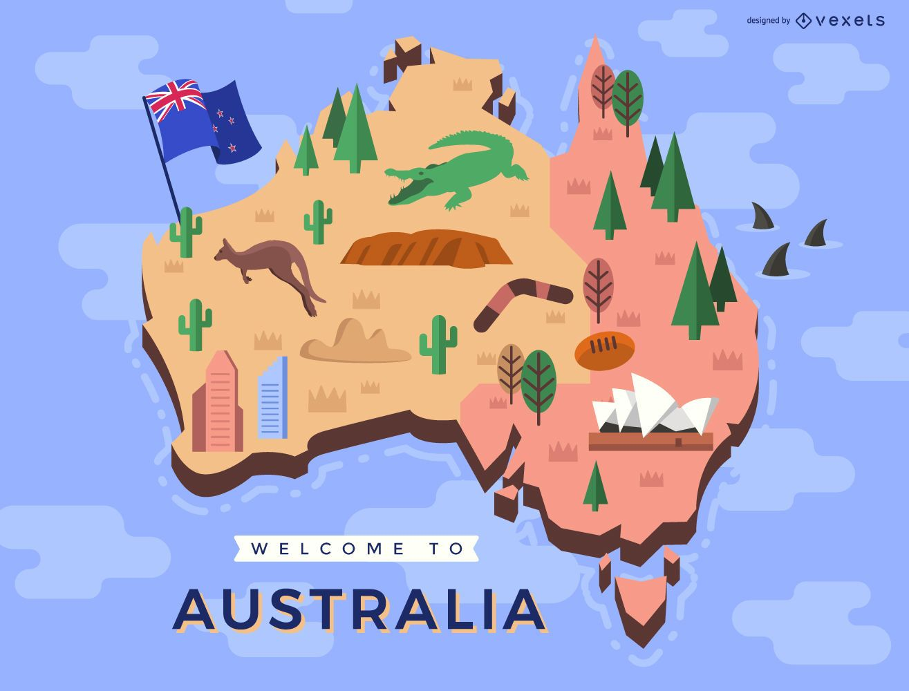 Australian map with traditional elements