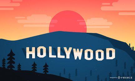 Paisaje hollywoodiense con el signo clásico.