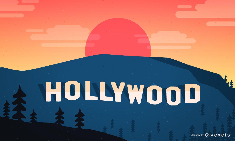 Paisaje de Hollywood con el cartel clásico.