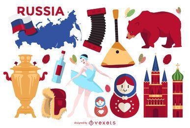 Conjunto de elementos ilustrados da Rússia