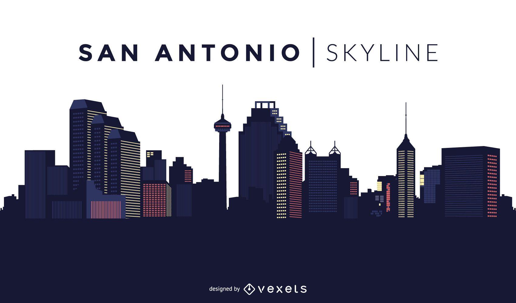 San Antonio Skyline Design Vector Download