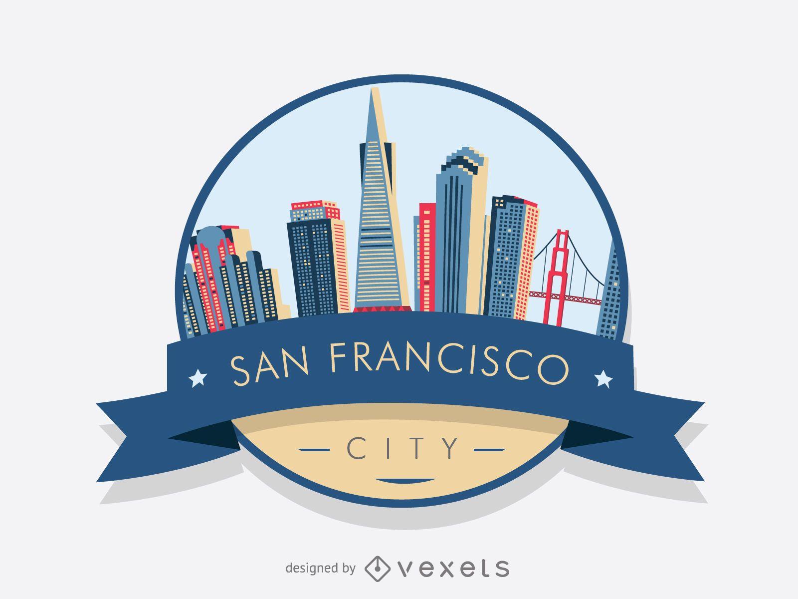 San Francisco Badge Skyline Vector Download