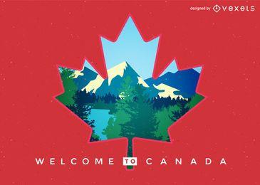 Bandeira do Canadá com paisagem