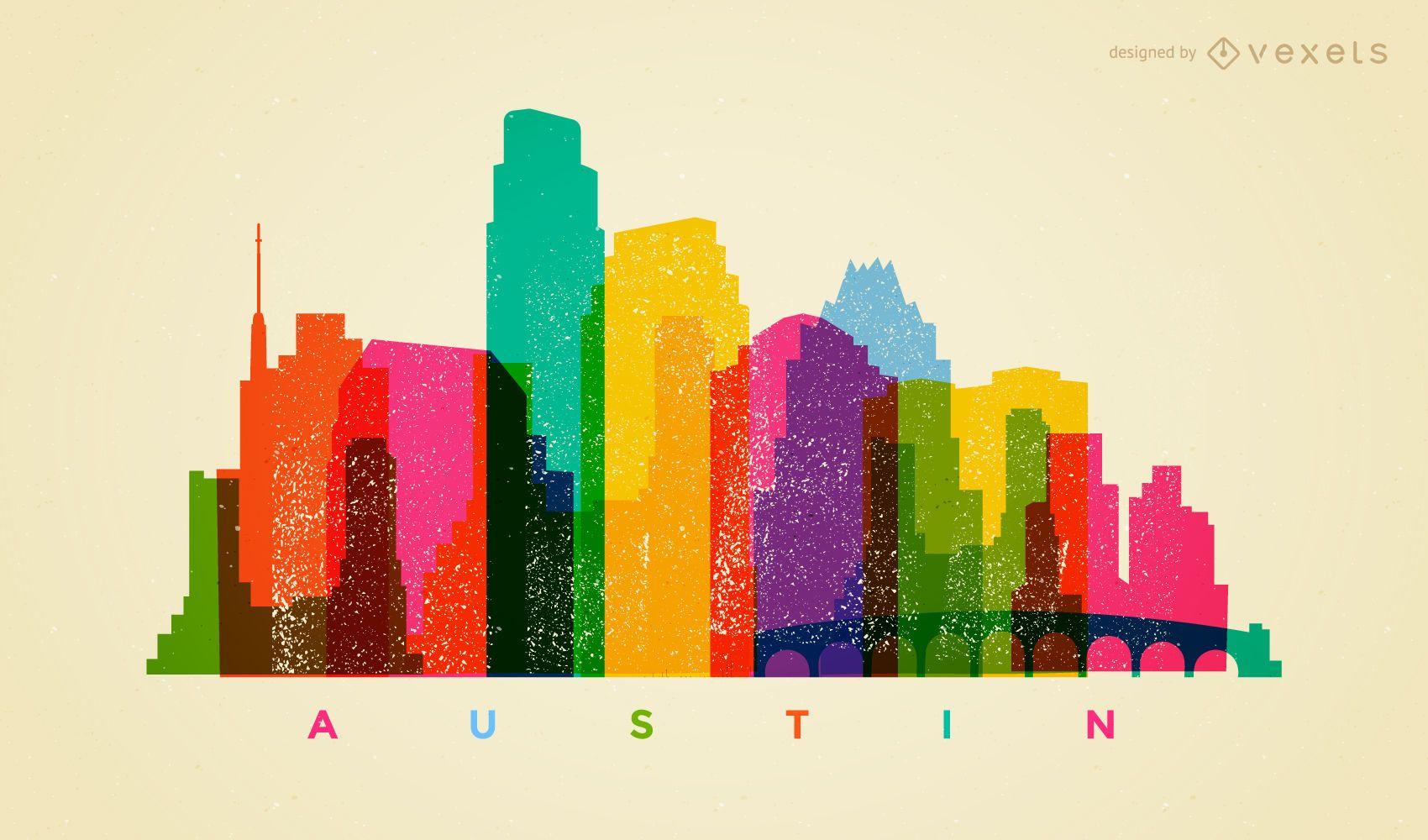 Colorful Austin skyline