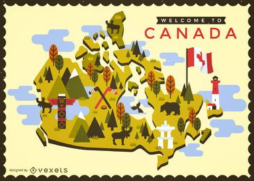 Mapa de Canadá con elementos típicos