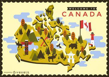 Mapa do Canadá com elementos típicos