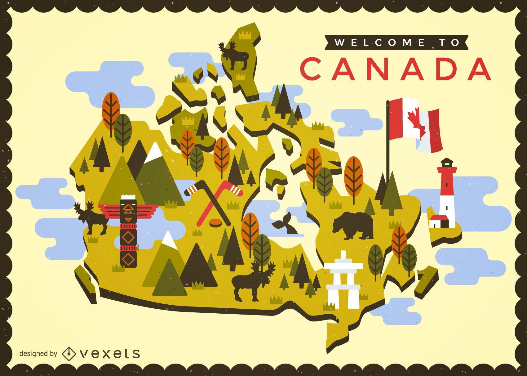 Mapa de Canadá con el diseño de la bandera - Descargar vector