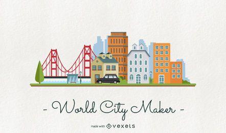 Fabricante de skyline de cidade do mundo