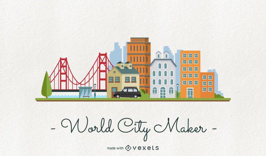 Creador del horizonte de la ciudad del mundo