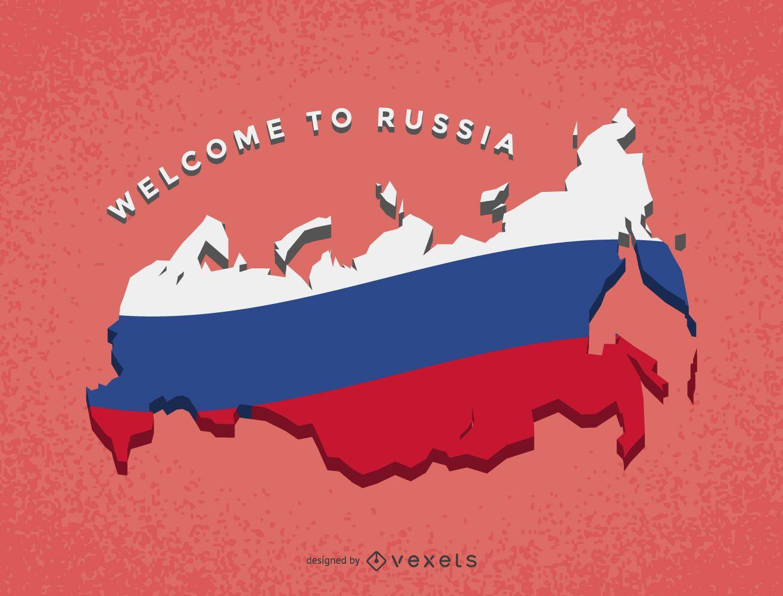 Mapa da Rússia com bandeira